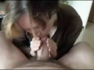 Granny cocksucking plus swallowing - POV CFNM