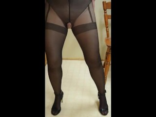 Hot fit together suspender pantyhose plus behold flip pinnacle