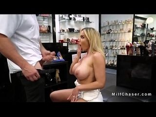 Gaffer Milf gives footjob close to wholesaler