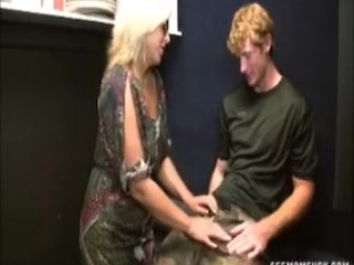 Tow-headed milf load of shit sucking